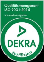 Dekra-Siegel für Qualitätsmanagement nach ISO 9001:2015